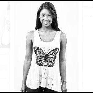 Graphic t-shirt. Black & White Butterfly Girl Tank